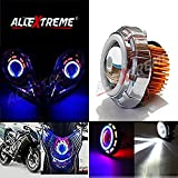 #10: AllExtreme Original Projector Lamp High Intensity Led headlight Lens projector ( High beam, Low Beam, Flasher function) Stylish Dual Ring COB LED Inside Double Angel's Eye Ring Lens Projector For - All Bikes (Blue,White and Red)
