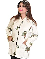 Exotic India Bright White Jacket From Pilkhuwa With Printed Palm Trees A - White