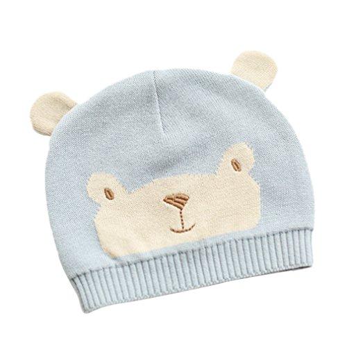 EOZY- Maglia di Cotone Bambino Berretto Cappello Cartone Animato Azzurro (12-24mesi)