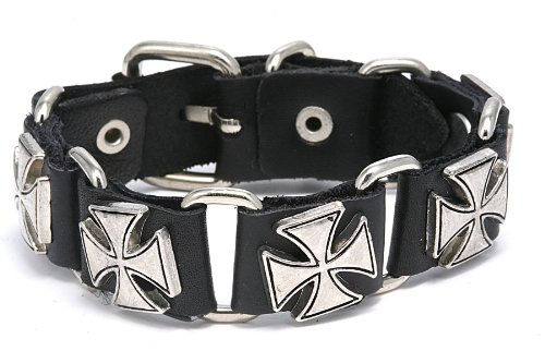 Pu Leather European Cross Design Bracelet Adjustable Size 7 to 9 Inches Include a Gift Puuch