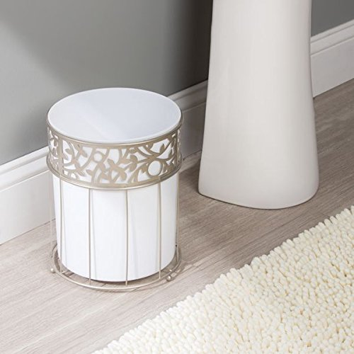 mdesign decorative wastebasket trash can for bathroom