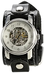 Nemesis Men's STH002S Signature Mechanical Silver Dial Leather Cuff Watch