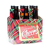 Beer Greetings - Holiday Plaid - Six Pack Greeting Card Box (Set of 4 Card Boxes in Holiday Plaid Design)