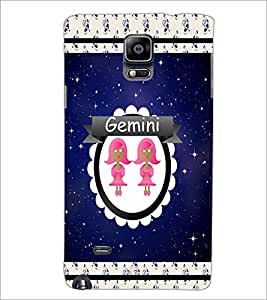 PrintDhaba Zodiac Gemini D-2760 Back Case Cover for SAMSUNG GALAXY NOTE 2 (Multi-Coloured)
