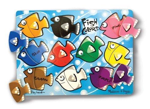Fish Theme Peg Puzzle w/ Interchangeable Pieces + FREE Melissa & Doug Scratch Art Mini-Pad Bundle [32681] - 1