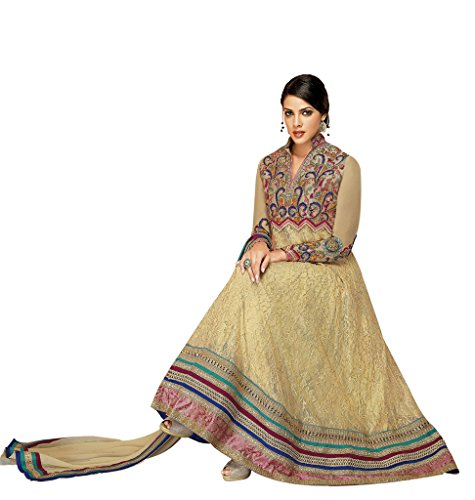 Rajnandini Womens Georgette Anarkali Semi-Stitched Dress Material (Joplsalbela1009 _Cream)