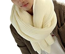 YYX Classical Mens Winter Warm Knit Wool Scarf Shawl Wraps Scarves White