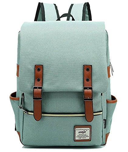 freemaster Vintage Casual Unisex Zaino Scuola Borsa Da Viaggio Zaino Daypack Tablet Borse, Green (rosa) - UKBB0006