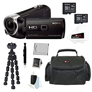 Sony HDR-PJ275/B HDRPJ275 PJ275 8GB Full HD 60p Camcorder w/ built-in Projector + Sony MicroSD 32GB and 16GB Class 10 Memory Card + Extra NP-BX1 High Capacity Battery + High Quality Camcorder Bag + Table Top tripod + Accessories