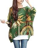 Women Scoop Neck Half Batwing Sleeve Bar Striped Pullover Shirt