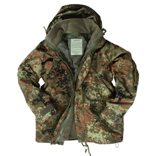 Waterproof ECWCS Jacket Mens Parka Smock with Fleece Flecktarn Camo