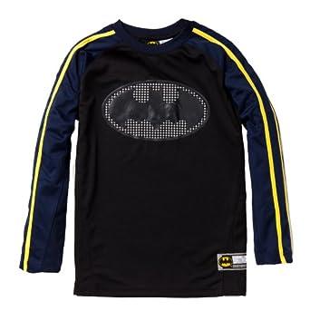 Batman Boys Long Sleeve Crew Neck Raglan Sports Inspired Jersey w/ Contrast Striped Sleeves in Black Size: 14/16