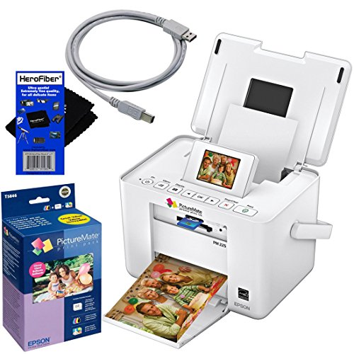 Epson Pm225 Picturemate Charm Compact Photo Inkjet Printer + Epson T5846 Picturemate 200-Series Print Pack (Includes Ink & Paper) Glossy 4 X 6 150 Sheets + Usb Printer Cable + Herofiber® Ultra Gentle Cleaning Cloth