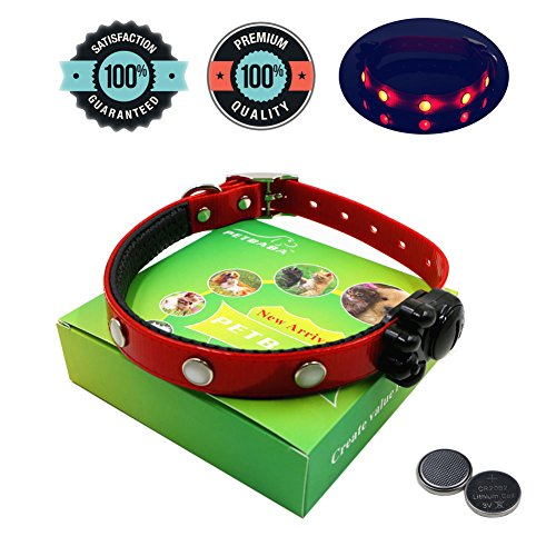 PETBABA® Pet Adjustable Jewel Lights LED Dog Collar with Density Nylon Strap for Small to Large Dogs Plus Two Replacement Batteries M