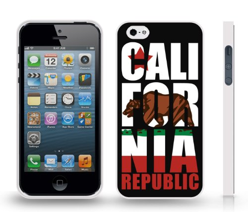 California State Flag, W / Large Golden State Bear, Republic Text And Star, Snap-On Cover Hard Carrying Case For Iphone 4/4S (White)