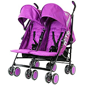 Zeta Citi TWIN Stroller Buggy Pushchair - Plum Double Stroller With Bag from Baby TravelTM