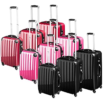 TecTake Polycarbonate suitcase trolley set 4 wheels 3 super lightweight rolling hardshell suitcase travel bags luggage - different colours - by TecTake