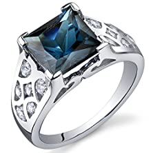 buy London Blue Topaz Ring Sterling Silver Rhodium Nickel Finish Princess Cut 2.75 Carats Size 8