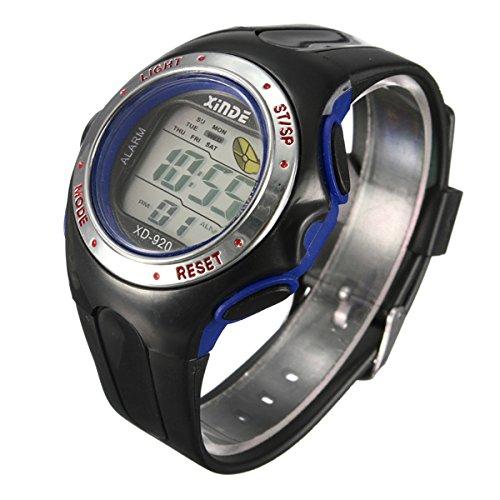Familymall(TM) LED Digital Sport Armbanduhr Sportuhr Herren Kuelen Licht Light Wecker Datum Blau