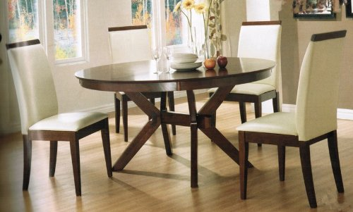 Buy Low Price Coaster 5pc Dining Table Chairs Set White Vinyl Distress