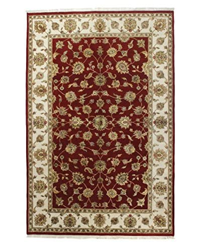 Bashian Rugs One-of-a-Kind Hand Knotted Wool/Silk Agra Rug, Red, 6' x 9'