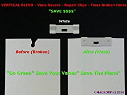 125 Pack VERTICAL BLIND Vane Saver ~ White Curved Repair Clips ~ Fixes Broken Holes