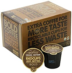 EKOCUPS Organic Artisan Coffee Bold , Dark roast for Keurig K-cup single serve Brewers, 40 count made by EkoCups