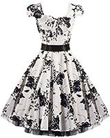 Pretty Kitty Fashion 50s Weiß Schwarz Blumen Cocktail Tee Kleid