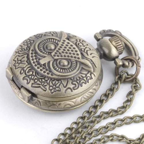 81stgeneration Damen Halskette Weinlese-Eule Messing antik Taschenuhr Kette