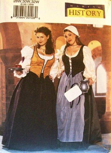 OOP Butterick Pattern 6198. Womens Plus Szs 28W; 30W; 32W Renaissance Costumes
