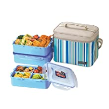 Lock&Lock Square Lunch Box Set with Leak Proof Locking Lids and Insulated Blue Bag, 3-Pieces