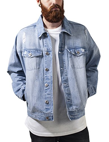 Urban Classics Ripped Denim Jacket, Giacca Uomo, Mehrfarbig (Bleached 14), XX-Large