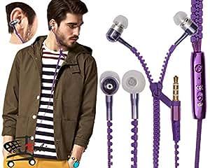 Zipper Style Earphones Headset Handsfree Compatible For Lava Pixel V2 -Purple