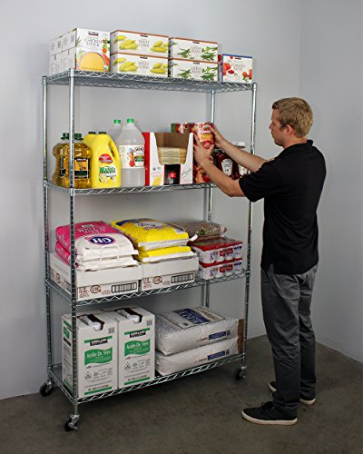 SafeRacks NSF 4-Tier Wire Shelving Rack with Wheels - 18