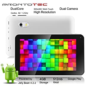 Prontotec 7 Inch Android Tablet Pc,Dual Core 1.2 Ghz, Android 4.2.2, 4g Rom, Ddr3 512m Ram, Dual Cameras, Standard USB Port, Wi-fi, G-sensor (White)