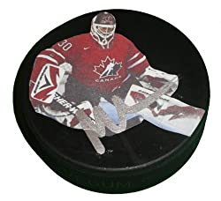 Martin Brodeur Autographed Team Canada Photo Hockey Puck, New Jersey Devils, Proof Photo