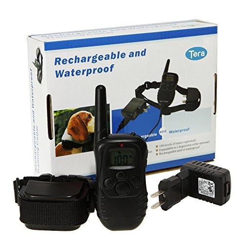 充電式!リモート・ペット・トレーニングカラーwith LCDディスプレー 300メートル通信可能 無駄吠え防止首輪 愛犬訓練用!