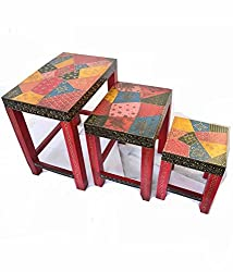 Handcrafted Handpainted Stools Set of 3
