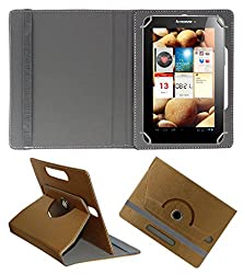 Acm Designer Rotating 360° Leather Flip Case For Lenovo Ideapad A2107 Tablet Stand Premium Cover Golden