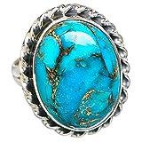 Blue Copper Composite Turquoise, Turquoise Bleue Composite Cuivre Argent Sterling 925 Bague 7.5