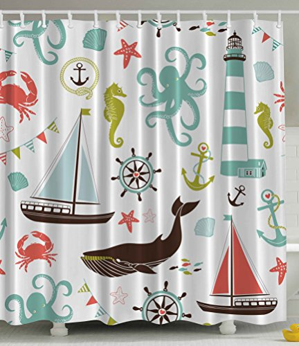 Sea Creatures Rope and Anchor Mint Octopus Coral Scorpion Wheel Helm Crab Marine Flag Lighthouse Seahorse Whale Shark Ocean Home Decor Bath Set Relaxing Nautical Coastal Fabric Shower Curtain