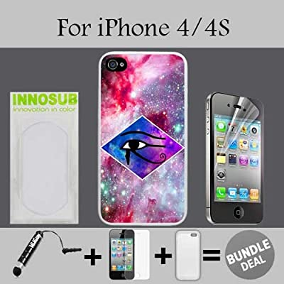 Diamond Eye of Horus Custom iPhone 4 Cases/4S Cases-White-Rubber,Bundle 3in1 Comes with HD Screen Protector/Universal Stylus Pen by innosub