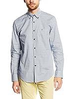 Caramelo Camisa Hombre (Blanco / Verde / Azul)