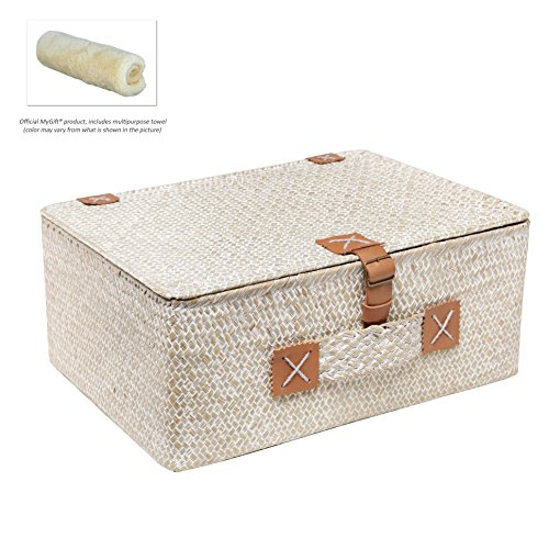 Soft Rush Lidded Rectangular Lined Storage Basket: Beige Woven Seagrass Briefcase Style Magazine / Clothing