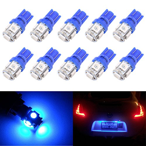 ENDPAGE 10x 194 168 2825 W5W T10 5-SMD Blue LED Light Bulbs Replacement for Interior Dome Map Dashboard Lights Trunk Lamp and Exterior License Plate Side Marker Parking Lights Fit RV Camper Van Truck (194 Led Bulb Blue compare prices)