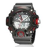 OHSEN 選べる 5 色 メンズ ダイバーズ LED ライト 多機能 腕 時計 デジアナ 防水 ストップウォッチ 耐衝撃 スポーツ アウトドア ウォッチ (レッド)
