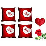 MeSleep Red Love Valentine Cushion Cover (16x16) - Set Of 4 With Free Heart Shaped Filled Cushion And Artificial...