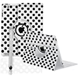 360 ROTATING FLIP LEATHER CASE COVER FOR THE NEW IPAD MINI (White Polka)