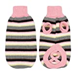 Pet Dog Sweater Knitted Coat Clothes Warm Turtleneck Striped Pink XS