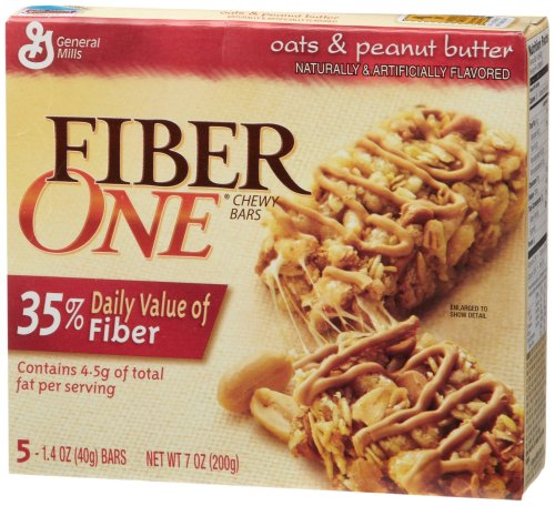 Fiber One Chewy Bars, Oats & Peanut Butter, 5-Count Boxes (Pack of 12)
